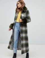 Dolly & Delicious embroidered check coat with faux fur trim in khaki | green checked winter coats