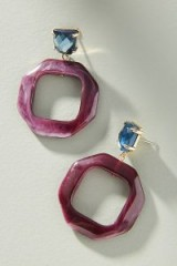 Anthropologie Donna Hooped Drop Earrings in Wine / resin hoops