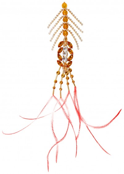 DRIES VAN NOTEN Crystal and feather-embellished brooch – statement brooches
