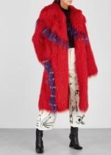 DRIES VAN NOTEN Rotardi red faux shealing coat – shaggy winter coats