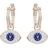 SWAROVSKI DUO EVIL EYE HOOP PIERCED EARRINGS, MULTI-COLOURED, ROSE GOLD PLATING