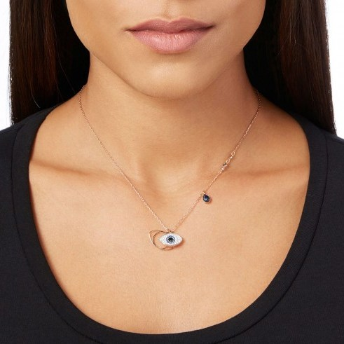 SWAROVSKI DUO EVIL EYE PENDANT, BLUE, MIXED PLATING | middle east inspired crystal charm necklace - flipped