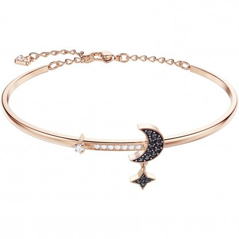 SWAROVSKI DUO MOON BANGLE, MEDIUM, BLACK, ROSE GOLD PLATING | celestial themed crystal jewellery - flipped