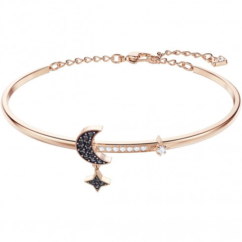 SWAROVSKI DUO MOON BANGLE, MEDIUM, BLACK, ROSE GOLD PLATING | celestial themed crystal jewellery