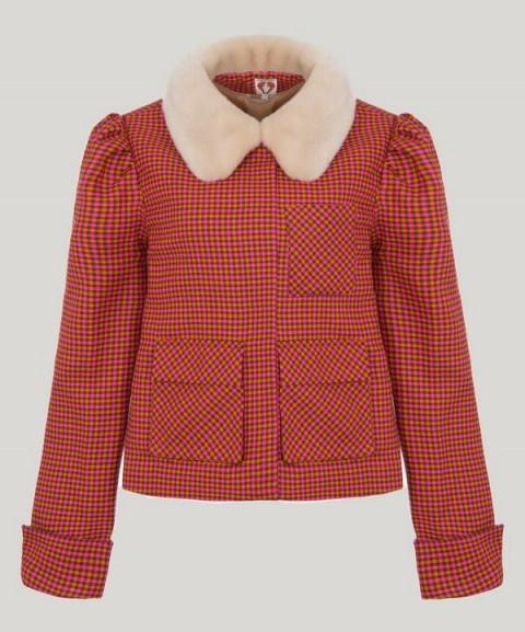 SHRIMPS Eileen Check Print Faux Fur Collar Jacket