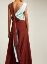 ROKSANDA Eliana draped silk midi dress in rust-red ~ knotted cut out back ~ details