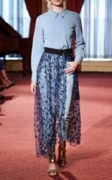 Rachel Comey Crystal Embellished Navy Tulle Maxi Skirt