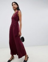 Emme Glamour Wrap Jumpsuit with Wide Leg in Bordeaux – dark red party fashion