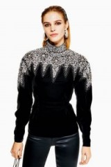 Topshop Encrusted Yoke Sweatshirt | embellished black velvet high neck top
