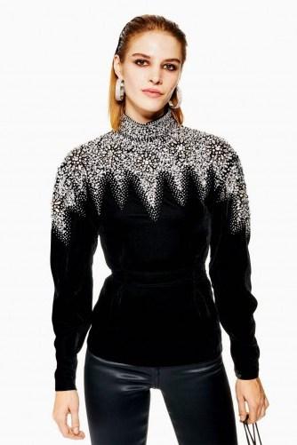 Topshop Encrusted Yoke Sweatshirt | embellished black velvet high neck top - flipped