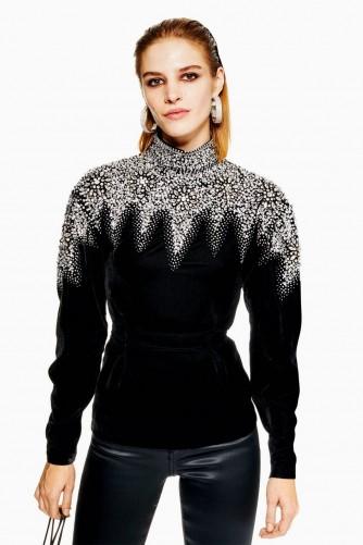 Topshop Encrusted Yoke Sweatshirt | embellished black velvet high neck top