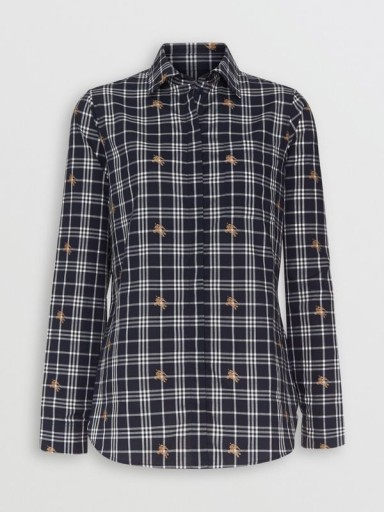 BURBERRY Equestrian Knight Check Cotton Shirt in Navy