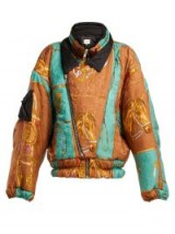 GUCCI Brown Equestrian-print padded jacket ~ horse prints