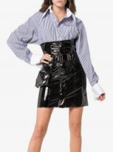 Faith Connexion High Waisted Vinyl Mini Skirt in Black / shiny fashion