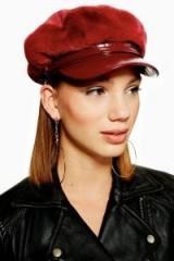 Topshop Faux Fur Baker Boy Hat in Burgundy   dark red retro cap