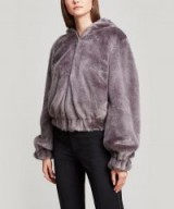 HELMUT LANG Faux Fur Bomber Jacket in Seal