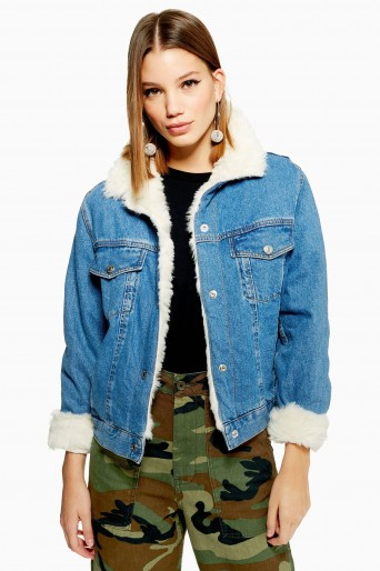 Topshop Faux Fur Lined Denim Jacket in Mid Stone
