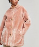 PAUL SMITH Pink Faux Fur Reversible Coat