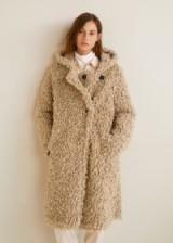 MANGO Faux shearling hooded coat in Ecru | neutral shaggy coats