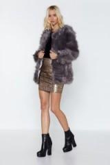 NASTY GAL Feels So Chevron Faux Fur Coat in Dark Grey – luxe style jackets