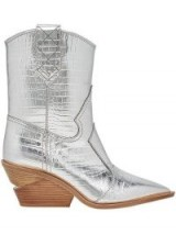 FENDI pointed toe silver leather cowboy booties / metallic western boot