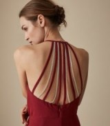 REISS FIONA BEADED STRAPPY MIDI DRESS REDCURRANT ~ glamorous back detail