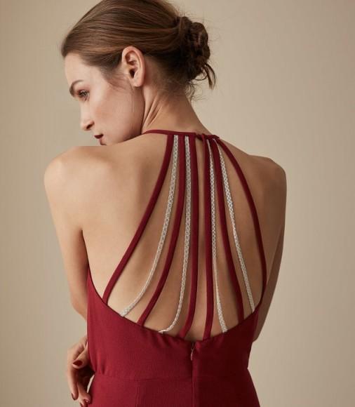 REISS FIONA BEADED STRAPPY MIDI DRESS REDCURRANT ~ glamorous back detail