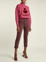 ISABEL MARANT ÉTOILE Fliff burgundy mid-rise slim-fit cropped jeans ~ coloured denim