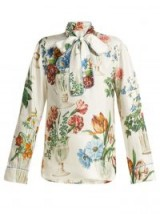DOLCE & GABBANA Floral and vase-print white silk blouse | luxe pussy bow blouse