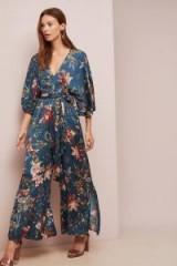 dRA Floral-Print Wrap Jumpsuit Blue Motif ~ feminine wide leg jumpsuits