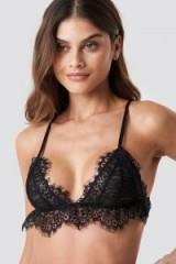 NA-KD Lingerie Flounce Lace Triangle Bra Black | plunge bras