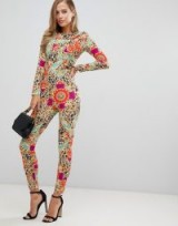 Flounce London fitted jumpsuit in scarf print – retro party wear – evening glamour