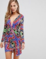 Flounce London twist front mini dress in scarf print – glamorous plunging neckline – fitted party dress