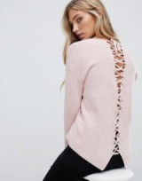 Forever New lace up back jumper in pink – feminine knitwear