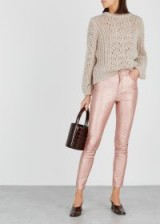 FREE PEOPLE Rose metallic faux-leather jeans – pink skinny trousers