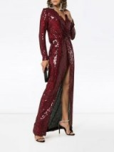 GALVAN Vera Red Sequin and Silk Maxi Dress / shimmer and shine