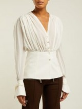 CHLOÉ Gathered silk-pongee V-neck blouse ~ feminine design clothing
