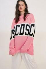 GCDS Pink Logo Jumper – slouchy oversized knitwear
