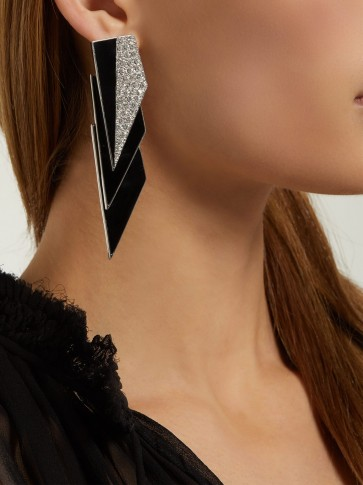 SAINT LAURENT Geometric crystal-embellished clip-on earrings in black / large deco clips
