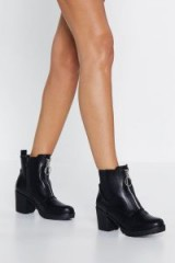 NASTY GAL Get Up and O-ring Boot in Black – chunky front zip boots