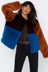 NASTY GAL Going Through a Soft Patch Faux Fur Coat in Plum – colour block winter jacket