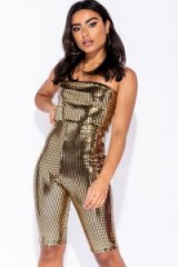 Parisian GOLD MIRROR PRINT BANDEAU FITTED JUMPSUIT ~ bling party fashion