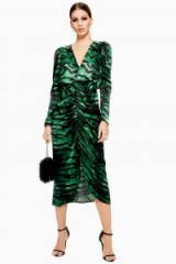 TOPSHOP Green Zebra Ruched Dress – glam party wear