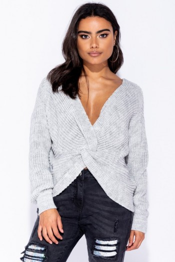 Parisian GREY KNOT FRONT DETAIL JUMPER ~ luxe style knitwear