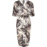 River Island Grey snake print wrap front midi dress – glamorous reptile prints
