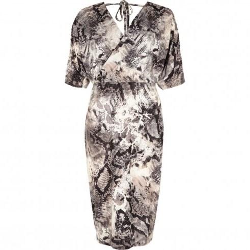 River Island Grey snake print wrap front midi dress – glamorous reptile prints - flipped