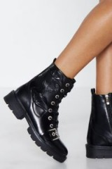 Nasty Gal Grow Can Do Floral Biker Boot in Black – chunky flower embossed boots