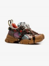 Gucci Multicoloured Metallic Flashtrek Removable Crystal Sneakers / jewelled chunky trainers