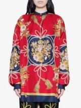 GUCCI Oversize shirt with flowers and tassels in red