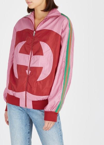 78bc6dac2 GUCCI Pink logo shell jacket – lightweight sporty jackets ...